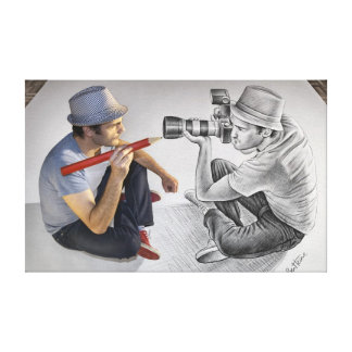 Pencil Vs Camera - 3D Mirror Canvas Print