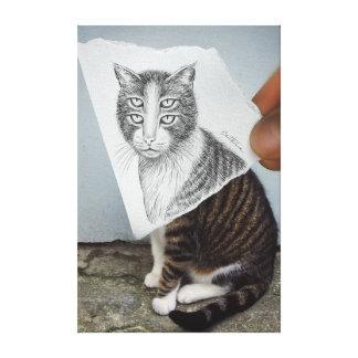 Pencil Vs Camera - 4 Eyes Cat Canvas Print