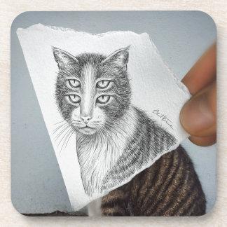 Pencil Vs Camera - 4 Eyes Cat Coaster