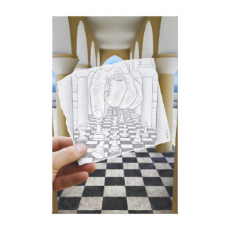 Pencil Vs Camera - Checkmate Canvas Print