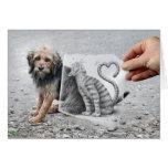 Pencil Vs Camera - Dog and Cat Greeting Card