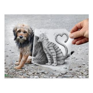 Pencil Vs Camera - Dog and Cat Postcard