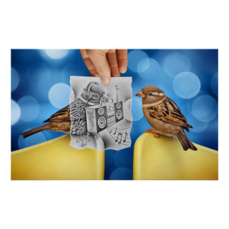 Pencil Vs Camera - Electro Bird Poster