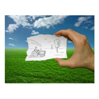 Pencil Vs Camera - Farmer Postcard