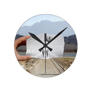 Pencil Vs Camera - Lovers Round Wall Clock
