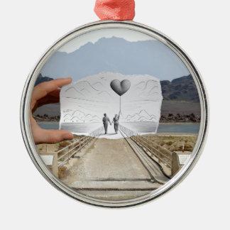 Pencil Vs Camera - Lovers Round Metal Christmas Ornament