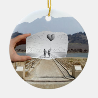 Pencil Vs Camera - Lovers Double-Sided Ceramic Round Christmas Ornament