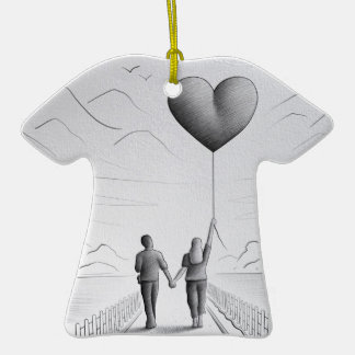Pencil Vs Camera - Lovers Double-Sided T-Shirt Ceramic Christmas Ornament