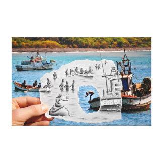 Pencil Vs Camera - Mermaid Canvas Print