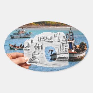 Pencil Vs Camera - Mermaid Oval Sticker