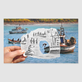 Pencil Vs Camera - Mermaid Rectangular Sticker