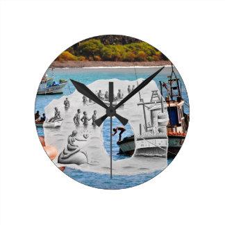 Pencil Vs Camera - Mermaid Round Clock
