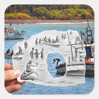 Pencil Vs Camera - Mermaid Square Sticker