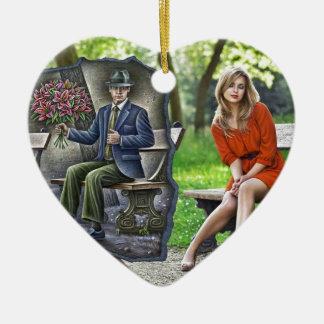 Pencil Vs Camera - Saint Valentine Gentleman Double-Sided Heart Ceramic Christmas Ornament