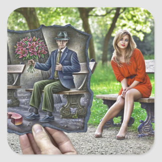 Pencil Vs Camera - Saint Valentine Gentleman Square Sticker