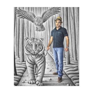 Pencil Vs Camera - Tiger, Owl, Man Canvas Print