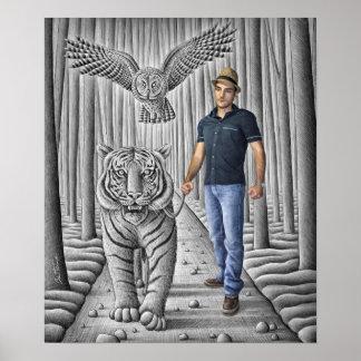 Pencil Vs Camera - Tiger, Owl, Man Poster