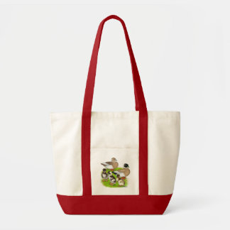 Penciled Call Duck Family Canvas Bags