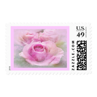 Penciled Pink Rose Postage