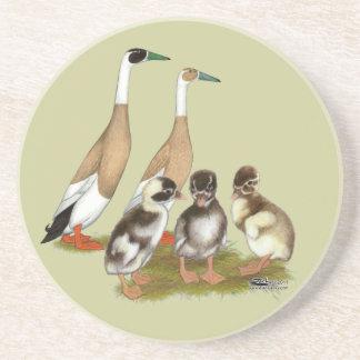 Penciled Runner Duck Family Sandstone Coaster