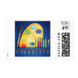 Pencils And Paintbrush Postage