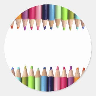 Pencils of Colors Classic Round Sticker