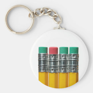 Pencils over white keychain