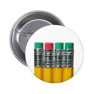 Pencils over white pinback button