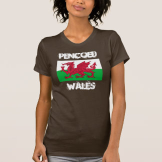 Pencoed, Wales with Welsh flag T-shirt