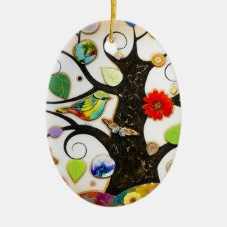 Pendant of passarinho Double-Sided oval ceramic christmas ornament