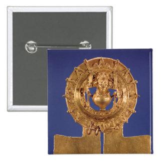 Pendant representing a sun disk, Zaachila Pinback Button