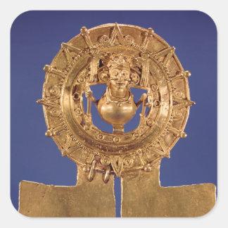 Pendant representing a sun disk, Zaachila Square Sticker