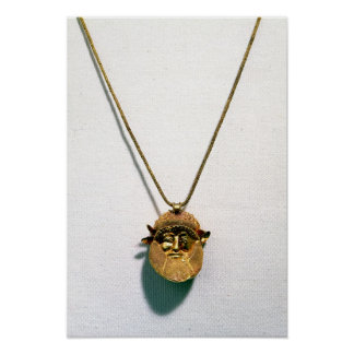 Pendant with the head of the river god Achelous Poster