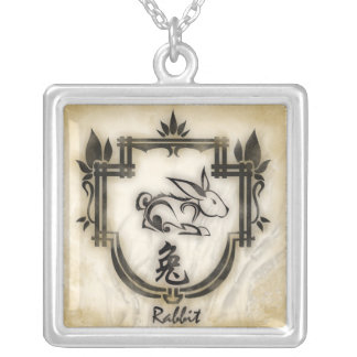 Pendentif zodiaque chinois le Lapin Silver Plated Necklace