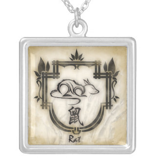 Pendentif zodiaque chinois le Rat Silver Plated Necklace