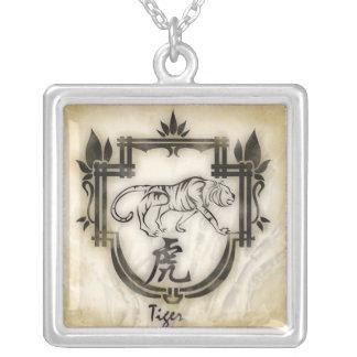Pendentif zodiaque chinois le Tigre Square Pendant Necklace