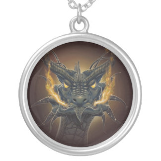 pendentive collar head of Dragon Silver Plated Necklace