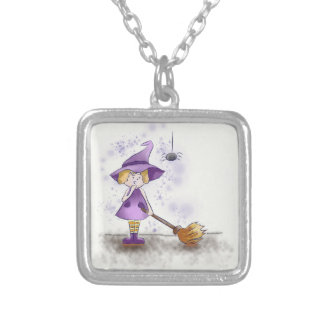 pendentive square witch personalized necklace