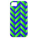 Pendiente azul y verde Chevron iPhone 5 Cárcasas