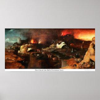 Pendiente de Cristo en infierno de Hieronymus Bosc Poster