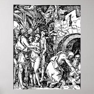 Pendiente de la aguafuerte de Durer en infierno Póster