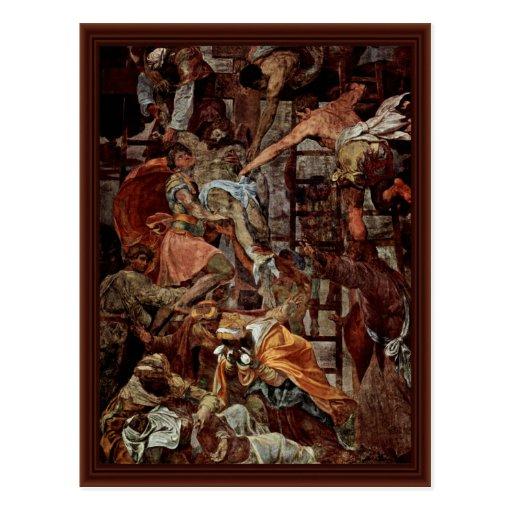 Pendiente de la cruz., por Daniele da Volterra Postal