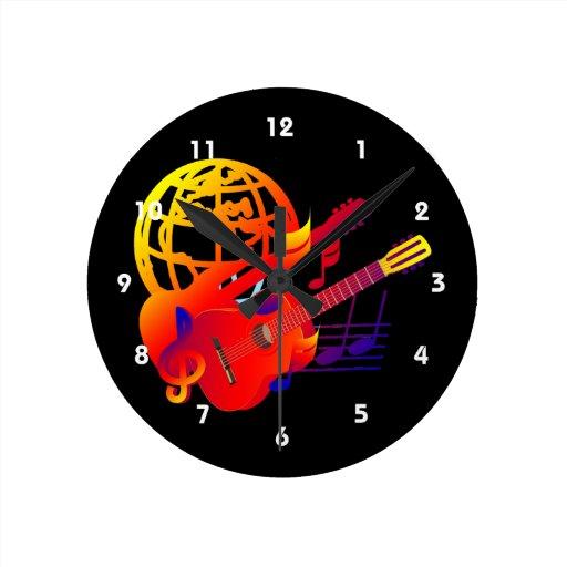 Pendiente de las guitarras del globo reloj de pared