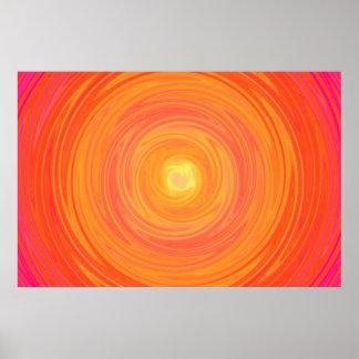 Pendiente de los años 60 - amarillo anaranjado psi póster