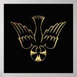 Pendiente de oro del símbolo del Espíritu Santo Poster