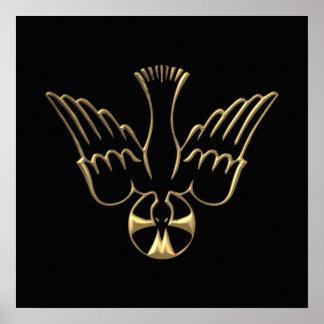 Pendiente de oro del símbolo del Espíritu Santo Póster
