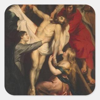 Pendiente de Peter Paul Rubens- de la cruz Calcomanías Cuadradass Personalizadas
