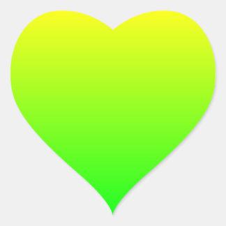 Pendiente del verde amarillo pegatina en forma de corazón