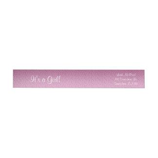 Pendiente reluciente rosada etiquetas postales