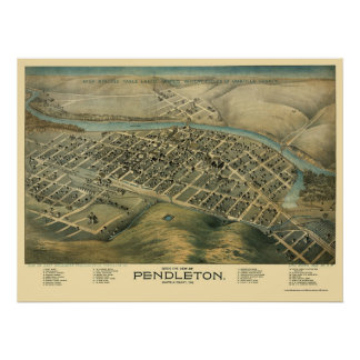 Pendleton, O mapa panorámico - 1890's Poster